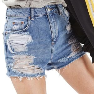 Topshop mom ripped high waisted shorts